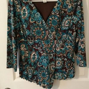 Tops - Brown and teal Blouse